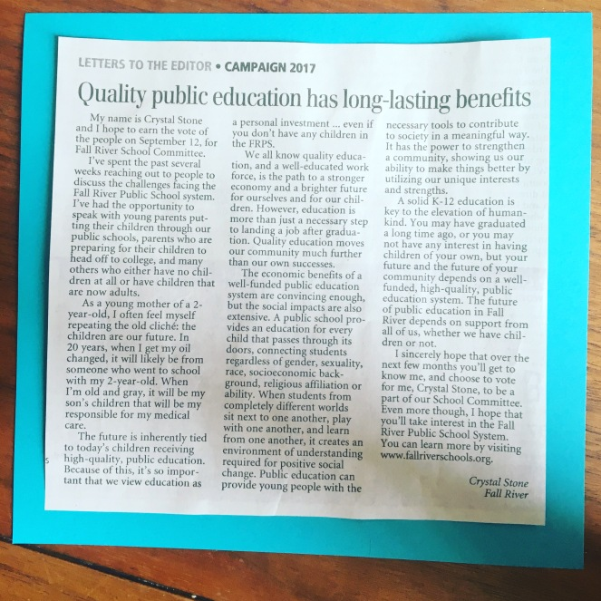Crystal Stone, Candidate for School Committee in Fall River, Letter to the Editor on importance of quality public education